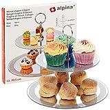 Soporte redondo para tartas de 2 niveles con bases de vidrio y asa, perfecto para té de la tarde,...
