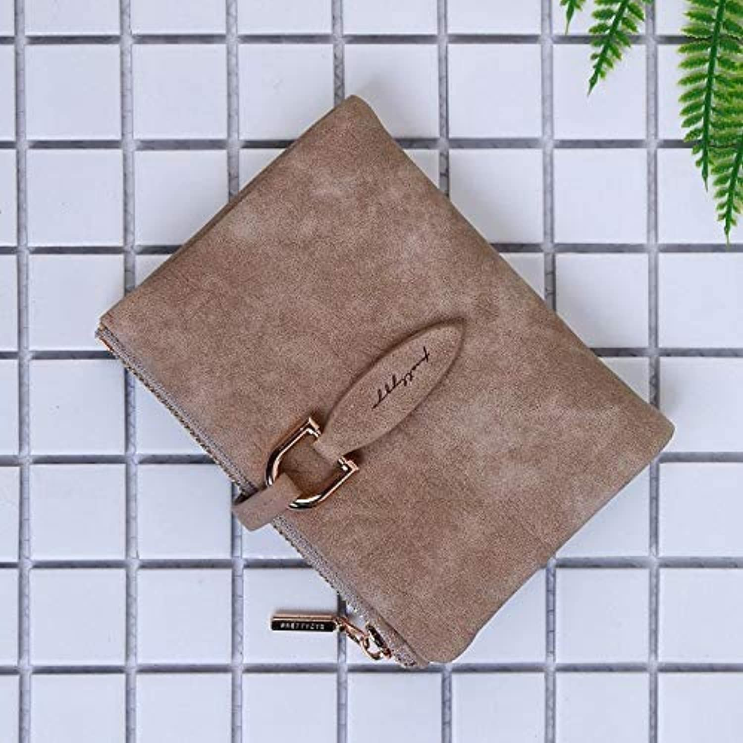 Bag Women's Wallet Short Korean Knitting PU Folding TriFold Leaf Women's Coin Purse (color   Red) Ladies Purses (color   Brown)