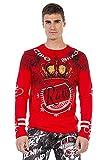 Cipo & Baxx Camiseta de manga larga para hombre con estampado de piedras brillantes, cuello redondo, CL451, rojo, XL