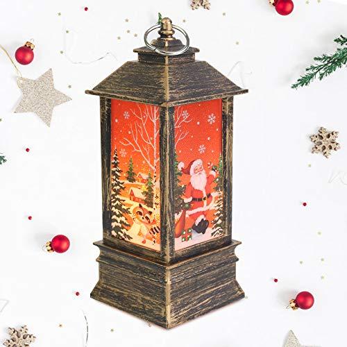 NIERBO Große Größe LED Schneelaterne Santa Weihnachtliche Tischleuchte und hängen Laterne Lampe Weihnachtsdeko Weihnachten Tischdekoration Weihnachtsmann Elch Licht für Innen, Zuhause