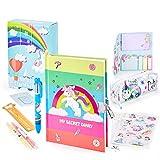 Paochocky 14 PCS Juego de papelería Bonita de Unicornio,Cuaderno de Diario con Cerradura Regalos de cumpleaños Navidad para niñas