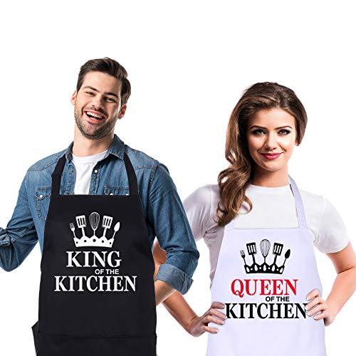 fanshiontide 2 Piezas Delantales de Cocina,Delantal de Pareja,QUEEN of the kitchen y KING of the kitchen, Delantal de cocina ajustable con 2 bolsillos