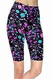 sissycos Leggings cortos para mujer de los años 80 con estampado artístico, para niñas, pantalones cortos suaves Rose Red Splatter L/XXL