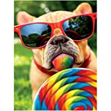 Ginfonr 5D Diamond Painting Kit Lollipop Sunglasses Dog Full Drill by Number Kits, French Bulldog DIY Paint with Diamonds Art Colorful Sugar Rhinestone Craft Decor for Home (12x16 inch)