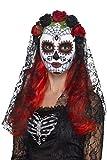 Smiffys-44639 Máscara de señorita del día de Muertos, Cara Completa, con Rosas, Color Rojo y Negro, Tamaño único (Smiffy'S 44639)