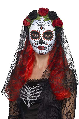 Smiffys Masque Senorita Jour des morts, visage entier, Rouge et noir, avec roses et voil
