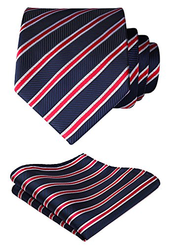 HISDERN Set fazzoletto da uomo e fazzoletto da taschino con cravatta a righe extra lunghe (rosso e blu)