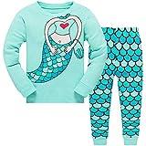 Conjunto de pijama infantil con diseño de sirena de unicornio y pijama de manga larga para Navidad PJS de 2 a 10 años Sirena verde. 5-6 Años