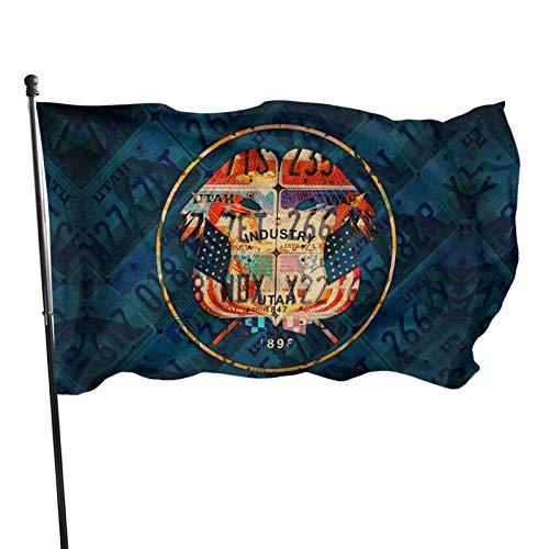 shenhaimojing Vintage License Plate Utah State Flag Outdoor Banner Flags,Home Garden Flag,Outdoor Flag,House Yard Decoration,Breeze Flag 150X90Cm