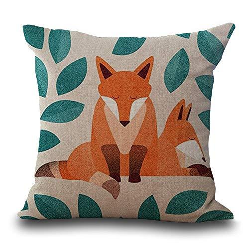 HODORPOWER Cushion Covers 45x45cm Cotton Linen Pillow Case Vintage Style Livingroom Sofa Bedroom Car 18 x 18 (Fox B)