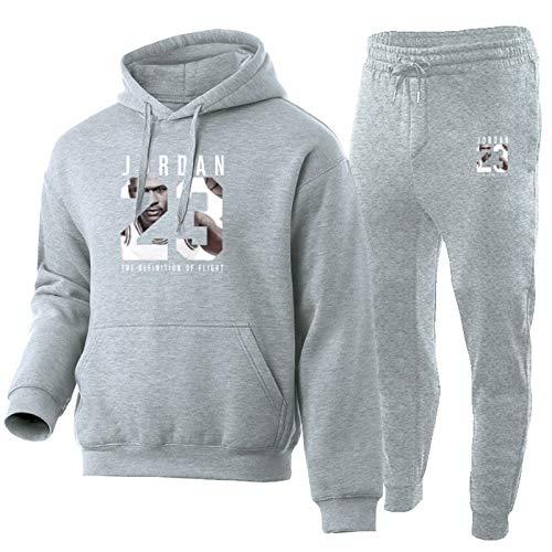 AKLP Jordania Chándal Hombres Moda Sudadera Sudadera Sportswear 23# 2 Piezas Sets Hoodie Pantalones Sporting Traje Male Jersey Suéter con Capucha TIK Tok Tok Light Gray Set-XL