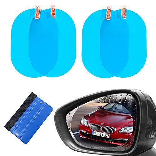TRIXES Pegatinas para el automóvil con película Protectora del Espejo retrovisor - Universal para para automóvil camioneta SUV - Paquete de 4 Pegatinas para Espejo