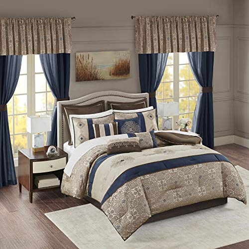 """Madison Park Essentials 24-Piece Room In A Bag Comforter Set-Satin Jacquard All Season Luxury Bedding, Sheets, decorative pillows and Curtains, Valance, King(104""""x92""""), Delaney, Medallion Navy"""