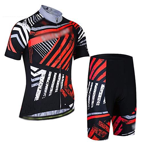 GONGMICF Herren Rad Sportanzug Radtrikot Set Kurzarm,Atmungsaktives Schnelltrocknend Shirt + 3D Cushion Shorts Gepolsterte Hose,für Fahrrad Rennrad MTB XS-XXXL