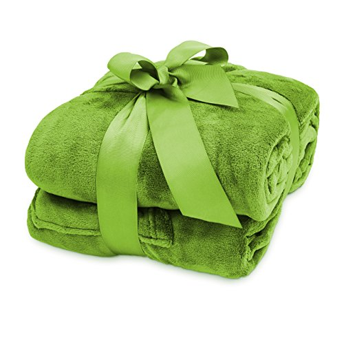 Lumaland TV Kuscheldecke mit Ärmeln aus weichem Coral Fleece mit Handytasche 150 x 180 + 35 cm Fußtasche grün