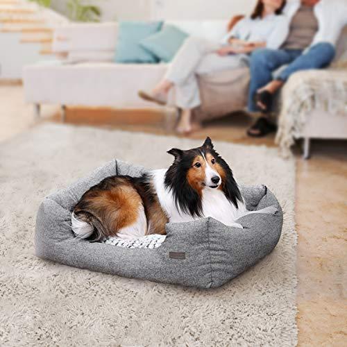 SONGMICS Hundebetten innenkissen Beidseitig Verwendbar mit unten einen Anti-Rutschboden M Außenmaße :80 x 60 x 26 cm PGW26G - 2