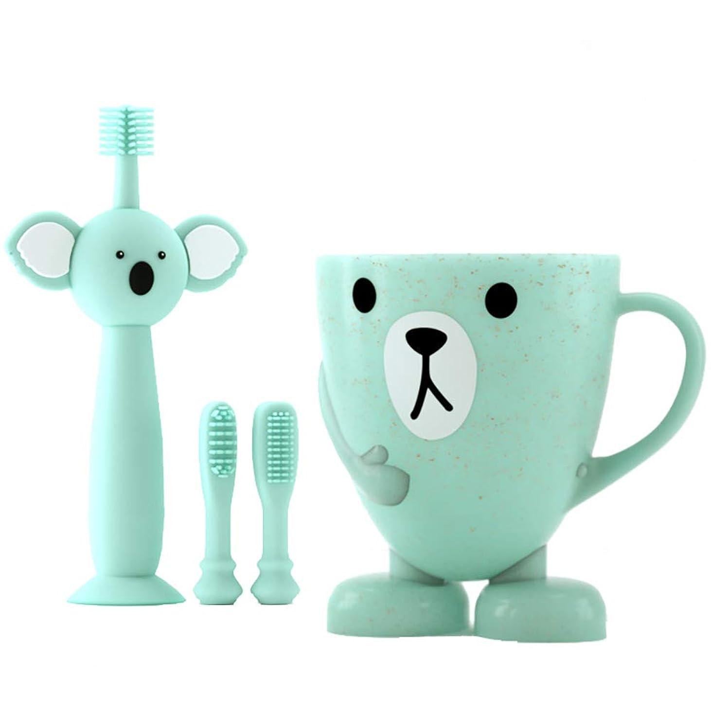 ビジョン活発エミュレートするLUDNEE 子供用歯ブラシ 男女兼用 柔らかい 乳歯を保護する ベビー歯ブラシ シリコン歯ブラシ 乳歯用ブラシ (ブルー)