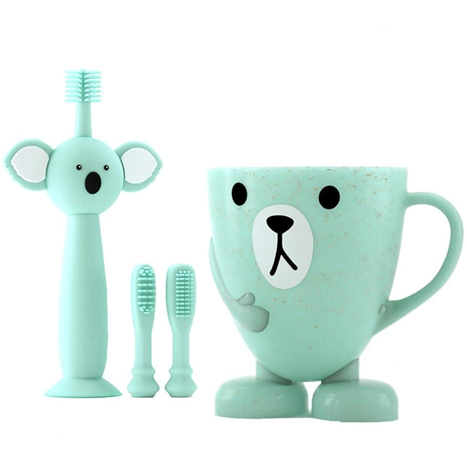 階段アイザック地味なLUDNEE 子供用歯ブラシ 男女兼用 柔らかい 乳歯を保護する ベビー歯ブラシ シリコン歯ブラシ 乳歯用ブラシ (ブルー)
