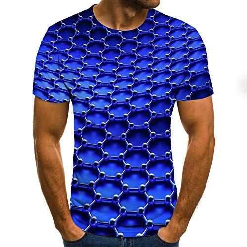 3D Impreso Camiseta Verano Casual Sports Fitness T-Shirt Morado Tie-Dye Patrón Geométrico Cuello Redondo Manga Corta Camisetas Sueltas Tops Transpirables De Secado Rápido para Hombres Mujeres, L