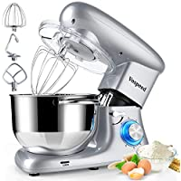 Vospeed 6 QT 660W 6-Speed Tilt-Head Food Mixer with Stainless Steel Bowl (Silver)