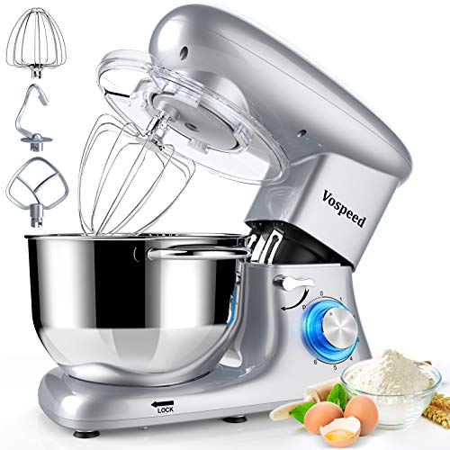 Stand Mixer, Vospeed 6 QT 660W 6-Speed Tilt-Head Food Mixer, Electric Kitchen Mixer with Stainless Steel Bowl,Dough Hook, Mixing Beater and Whisk, Splash Guard (Silver)