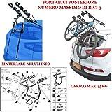 Compatible con Hyundai Genesis Coupè 3-5p (2010-) Rejilla para Coche DE Bicicleta Trasera EN Aluminio para 3 Bicicletas para Bicicleta para Coche para Coches con AJUSTES Carga MÁXIMA 45KG