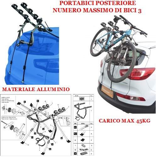COMPATIBILE CON Mitsubishi ASX 5p (2012-) PORTABICI POSTERIORE PER AUTO IN ALLUMINIO PER 3 BICI PORTA BICICLETTE PER AUTO RETRO CON REGOLAZIONI CARICO MAX 45KG