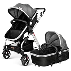 2 in 1 STROLLER- Infant Bassinet, and Toddler Stroller,supporting children up to 33 lbs, from birth to 36 month EASY to USE - The handle is adjustable to accommodate the height of parents ALL-TERRAIN WHEELS - Flexible Lockable front wheels with suspe...