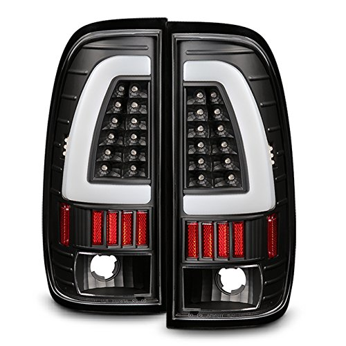 For 1997-2003 Ford F150 | 1999-07 F-Series Super Duty LED Tube Style Black Taillights Taillamp Pair Set