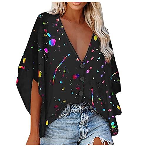 FMYONF Camiseta de verano bohemia para mujer, vintage, estampada, informal, cuello en V, manga corta, camisetas largas, modernas y elegantes, sueltas, con botones, túnica, multicolor, XXXXXL