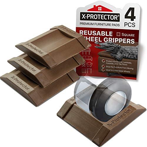 Möbelbecher - Bettstopper 4 PCS - X-PROTECTOR Premium Gummirollenbecher Möbeluntersetzer - Best Furniture Caster Cups - Bodenschützer für alle Böden und Räder