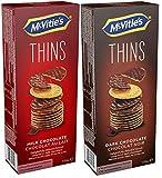 Paquete de prueba de McVitie's THINS - la tierna galleta de trigo cubierta de leche y chocolate negro, paquete de 2 (2 x 150 g)