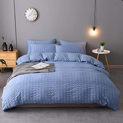 M&Meagle 2 Pieces Blue Duvet Cover Textured Set with Zipper Closure,100% Washed Microfiber Seersucker Fabric,Luxury Hotel Quality Bedding-Twin Size(1 Duvet Cover 1 Pillowcase)