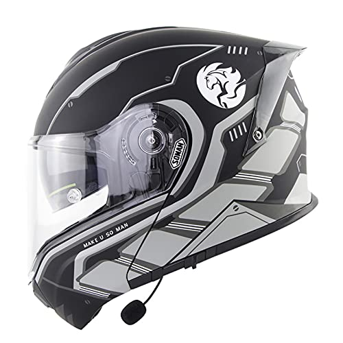 ABDOMINAL WHEEL Bluetooth Casco Moto,Modular Integrado Casco de Moto,Doble Visera Casco Moto Abatible,ECE Homologado Unisexo para Motocicleta Bicicleta Scooter Cascos de Moto B,XXL=61~62cm