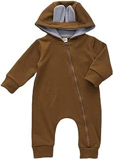 Xifamniy Infant Unisex Babies Hooded Romper Cute Sika Deer Shape Baby Zipper Jumpsuit