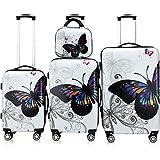 Lot 4 valises Butterfly M, L, XL et Vanity rigides renforcées Voyage avec Mallette...
