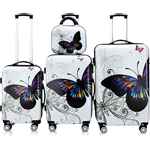 4tlg. Butterfly Hartschalenkofferset - mit Schloss & Beautycase - 360° Rollen