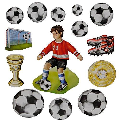 Unbekannt 15 TLG. Set 3-D ! Wandtattoo / XL Sticker aus Pappe - Fußball Fussballer Sport selbstklebend Aufkleber / Wandsticker für Jungen
