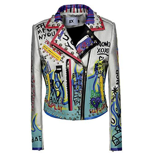 Damen Faux Stilvolle Nieten Cropped Lederjacke mit Taschen Pelzfutter Moto Biker Graffiti Print Punk Kurzmantel Slim Fit PU Outwear für Herbst und Winter, S