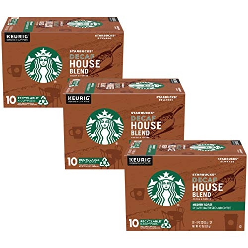 Starbucks Decaf House Blend Medium Coffee K-Cup Pods, House Blend, 10 CT (Pack of 3)