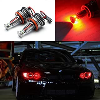 Nslumo 20w H8 Cree Angel Eye LED Marker Headlight Halo Light Bulbs for BMW E90 E92 M3 E60 E70 X5 E71 X6 E82 1 3 5 Series Red Color