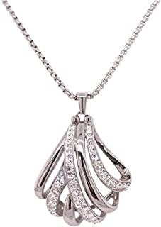 Bevilles Stainless Steel Crystal Crossover Necklace