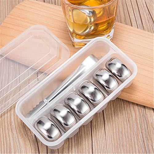 Whisky koelstenen Roestvrij staal Whiskey Stone Herbruikbare ijsblokjes for Whisky Wine Gin Het Koelen van wijn Drinkt Drank (Color : Picture color, Size : One size)