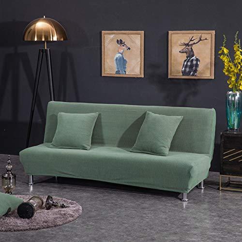 WEDZB Funda de sofá,Funda de sofá cama sin brazos Forro polar sin reposabrazos Cubiertas impresas Estiramiento Funda deslizante Muebles plegables Decoración Cubiertas de banco, verde oscuro, 120,150cm