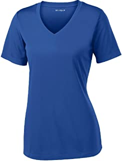 DRI-EQUIP Ladies Short Sleeve V-Neck Moisture Wicking Athletic T-Shirt-Royal-XL