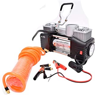 J Go Heavy Duty SUV/Sedan/Hatchback Elite Car Double Cylinder Air Compressor - Black & Silver with Tool Kit and Tyre Puncture Kit