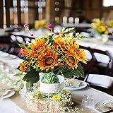 NAHUAA Künstliche Sonnenblumen Realistische Retro Kunstblumen Sonnenblume Strauß Seidenblumen Plastikblumen Deko für Balkon Garten Topf Blumenkasten Friedhof Hochzeit Frühling Tischdeko 1Pcs - 3