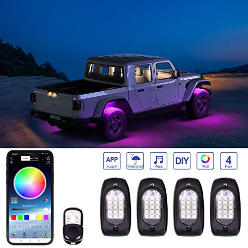 YiLaie RGB LED Rock Lights, 4 Pods Lights with Phone App/Remote Control & Timing & Music Mode Rock Lights Kits, Waterproof Underglow Light for Jeep ATV RZR UTV SUV Off Road AUTO Motorcycle