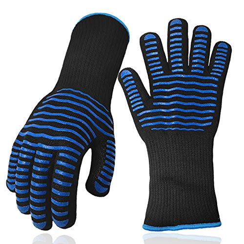 BBQ Gloves - Smoker Heat Resistant Gloves - Grill Gloves 13 Inch, Silicone Oven Gloves 932℉ Heat Resistant, Non-Slip for Barbecue, Cooking, Baking, EN407 Certified - YYHT