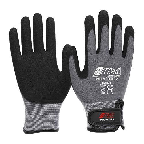 12 Paar NITRAS 8910 Dexter 2 Mechanikerhandschuhe Werkstatthandschuhe Handschuhe mit Klettverschluss, Größe:10